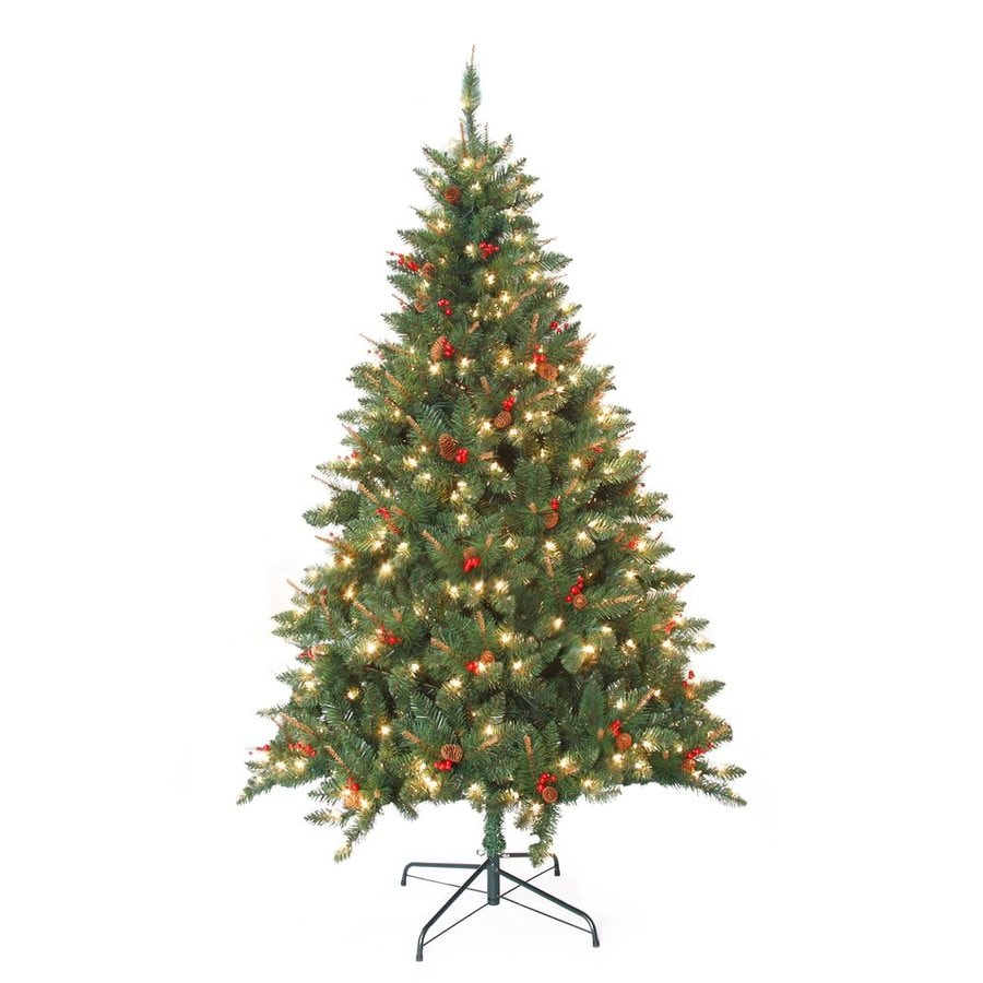 shop jeco 7 ft pre lit berrywood pine artificial christmas tree with 400 constant white clear. Black Bedroom Furniture Sets. Home Design Ideas