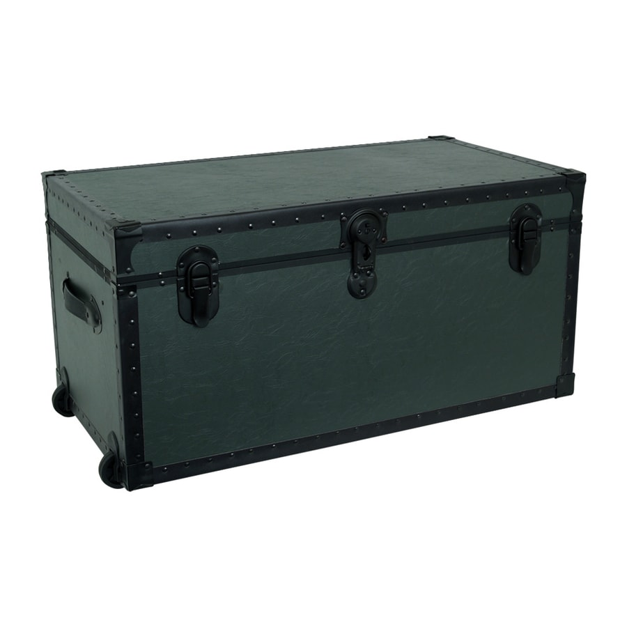 Mercury Luggage Olive Drab Green Wheeled Wood Storage Trunk