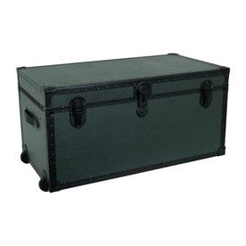 Mercury Luggage Olive Drab Green Wheeled Wood Storage Trunk