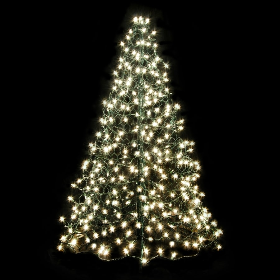 Crab Pot Trees 4.04-ft Pre-lit Artificial Christmas Tree with Constant 300 Single Plug White Clear Incandescent Lights