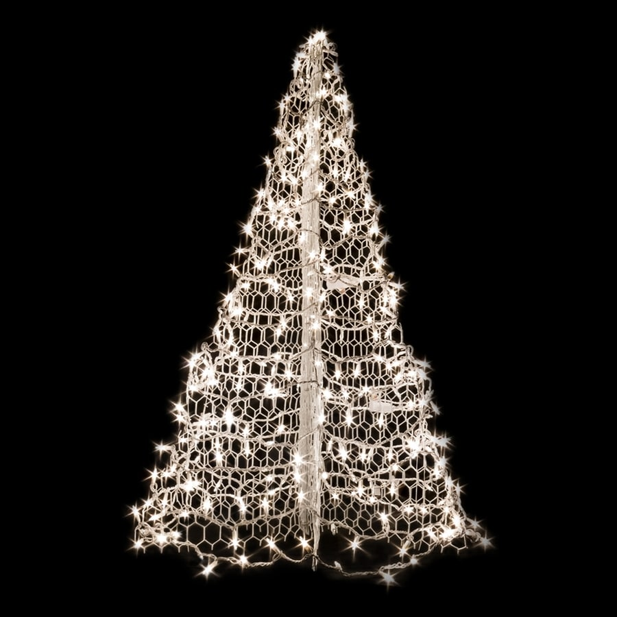 Crab Pot Trees 4.83-ft Pre-lit Artificial Christmas Tree with Constant 350 Single Plug White Clear Incandescent Lights