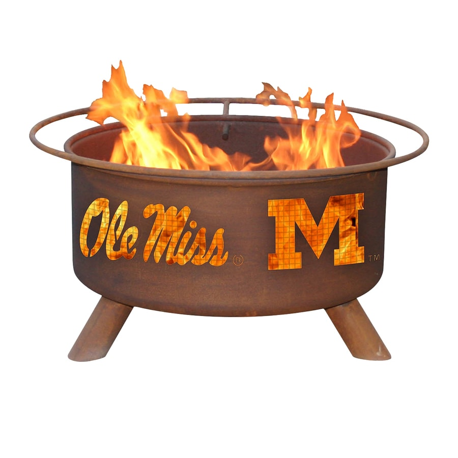 Patina Products University of Mississippi Rebels 24-in W Natural Rust Steel Wood-Burning Fire Pit