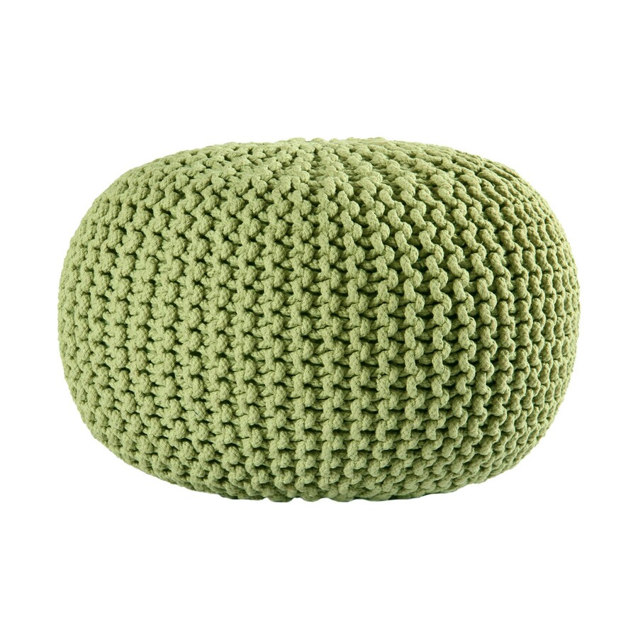 ST CROIX TRADING Green Cotton Rope Pouf Ottoman