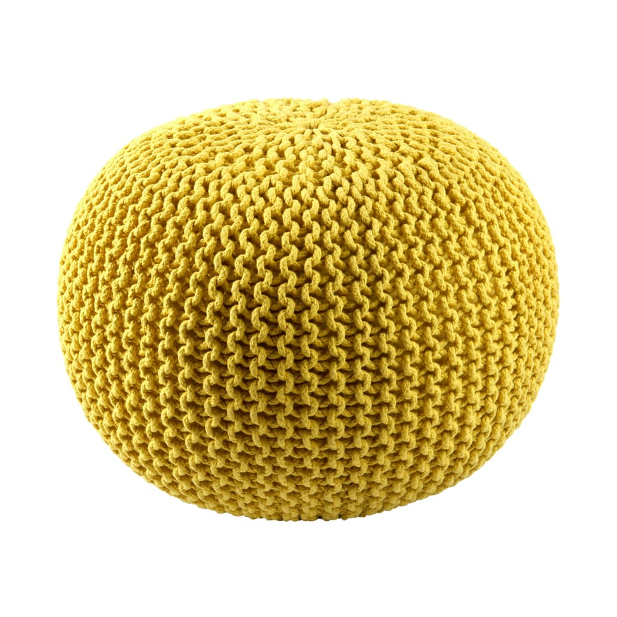 ST CROIX TRADING Yellow Cotton Rope Pouf Ottoman