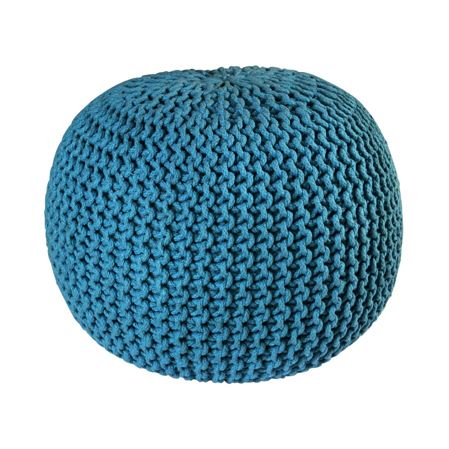 ST CROIX TRADING Blue Cotton Rope Pouf Ottoman