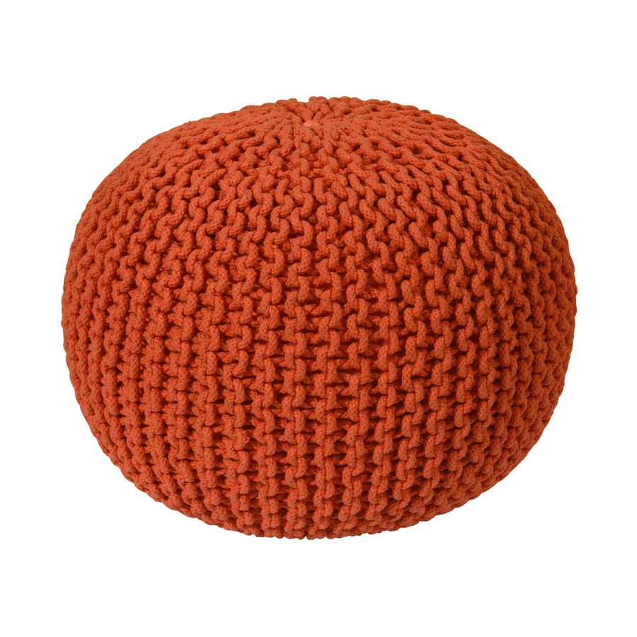 ST CROIX TRADING Orange Cotton Rope Pouf Ottoman