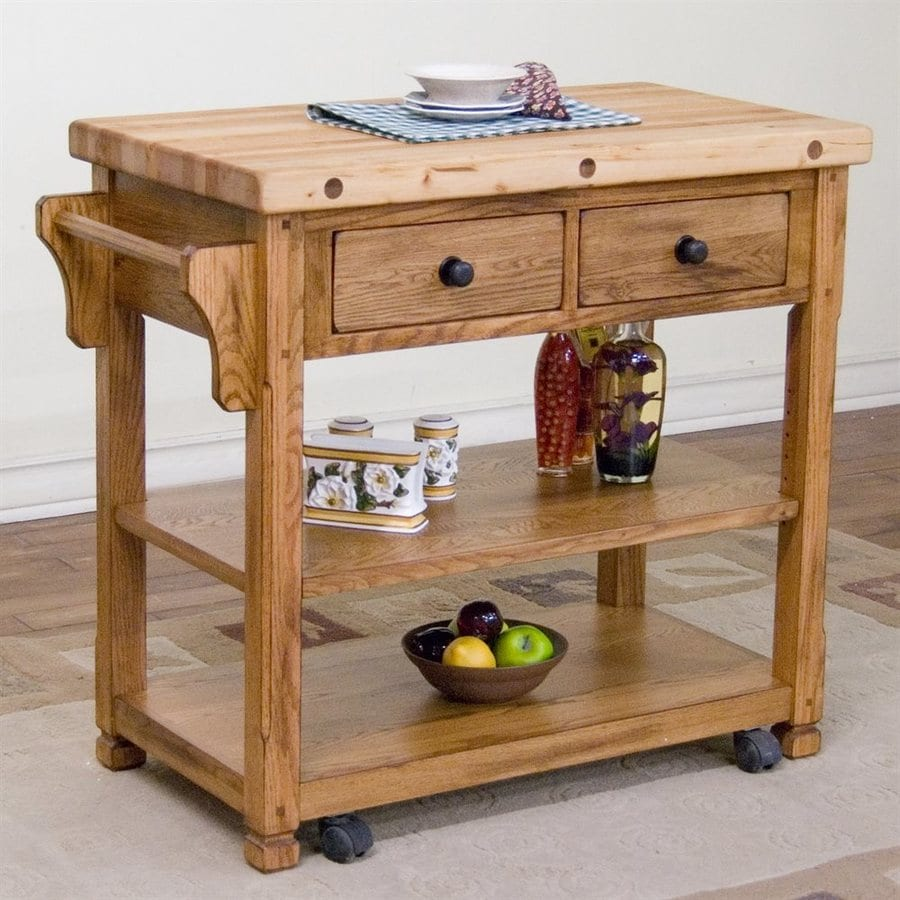 Sunny Designs 38-in L x 20-in W x 34-in H Rustic Oak Kitchen Island with Casters