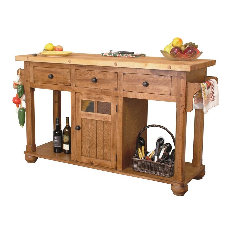 shop sunny designs brown farmhouse kitchen island at lowes com