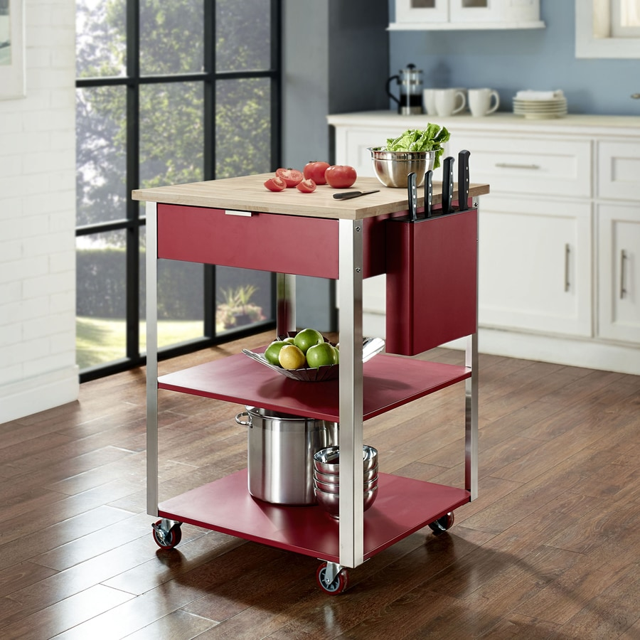Crosley Furniture 28-in L x 24-in W x 35.5-in H Cherry Red Kitchen Island with Casters