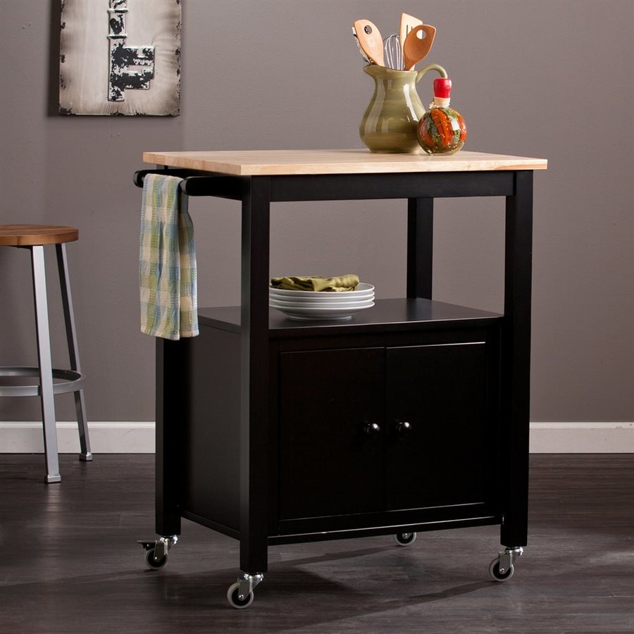 Boston Loft Furnishings 31.25-in L x 19-in W x 35-in H Black Kitchen Island with Casters