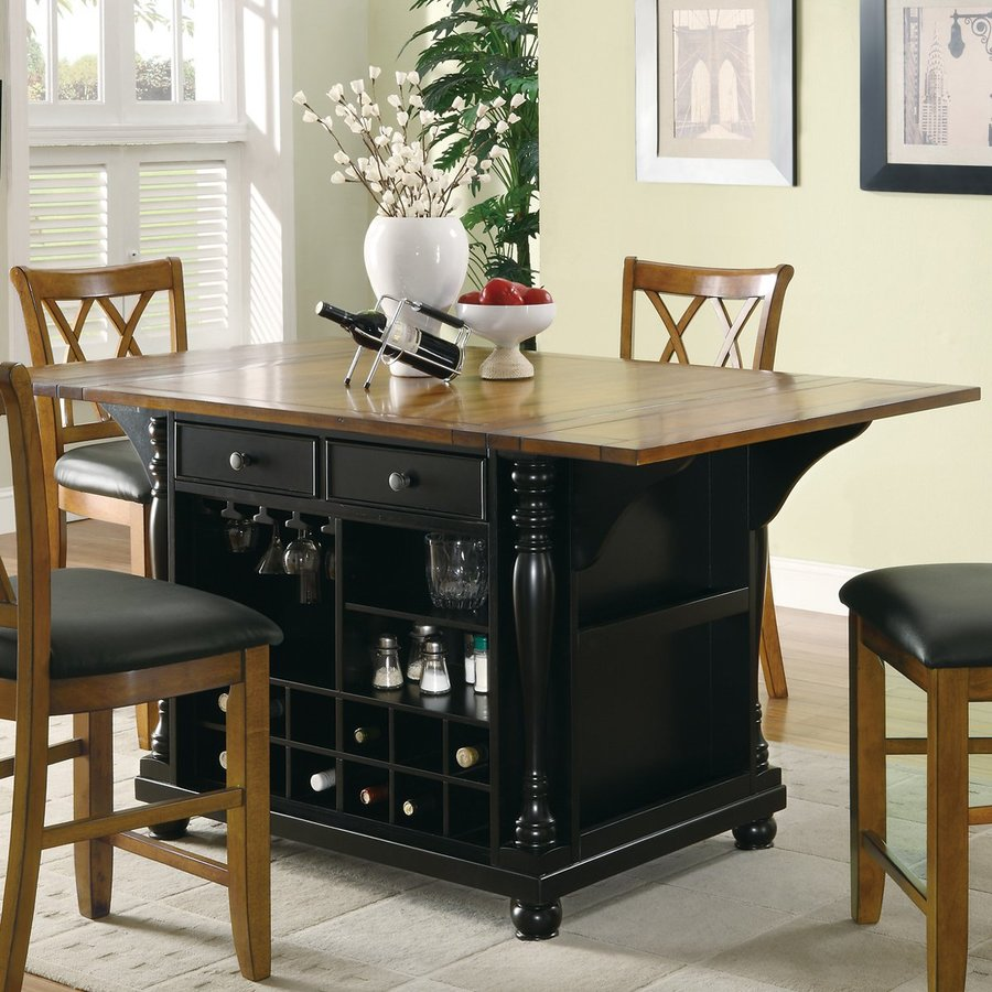 Kitchen Island Table And Chairs: Shop Coaster Fine Furniture 64-in L X 42-in W X 36-in H Black Craftsman Kitchen Islands At Lowes.com