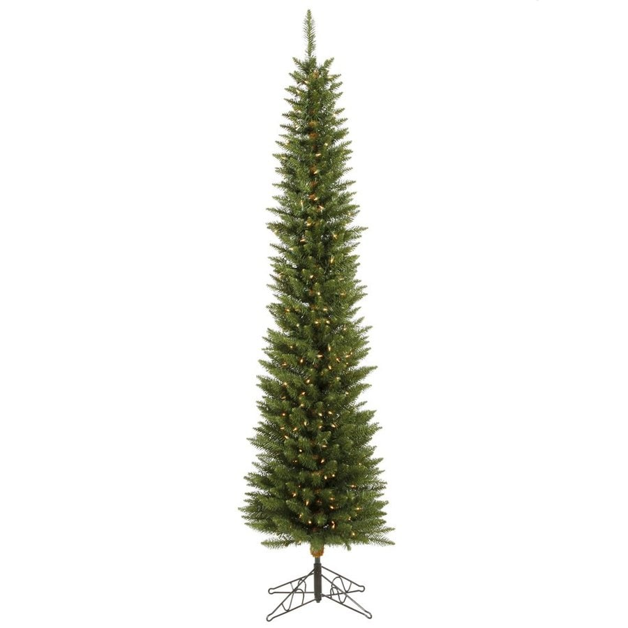 Vickerman 5.5-ft Pre-Lit Durham Pine Slim Artificial Christmas Tree with Warm White LED Lights