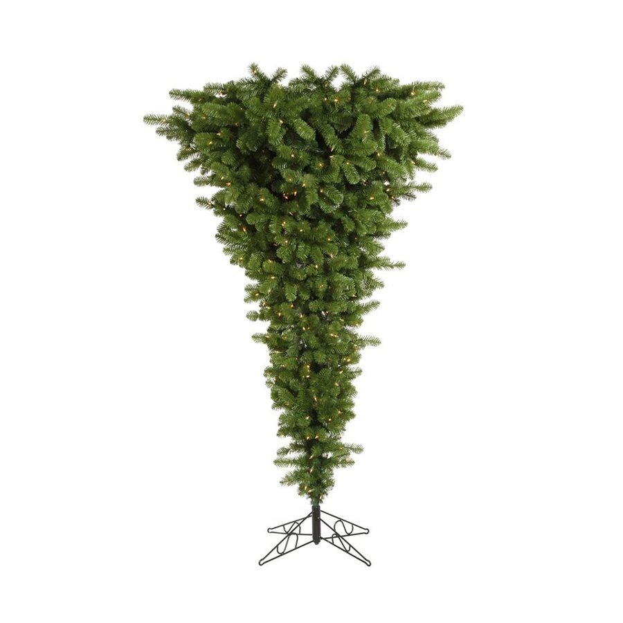 Vickerman 7-ft 6-in Pre-Lit Upside-Down Artificial Christmas Tree with Clear White Incandescent Lights