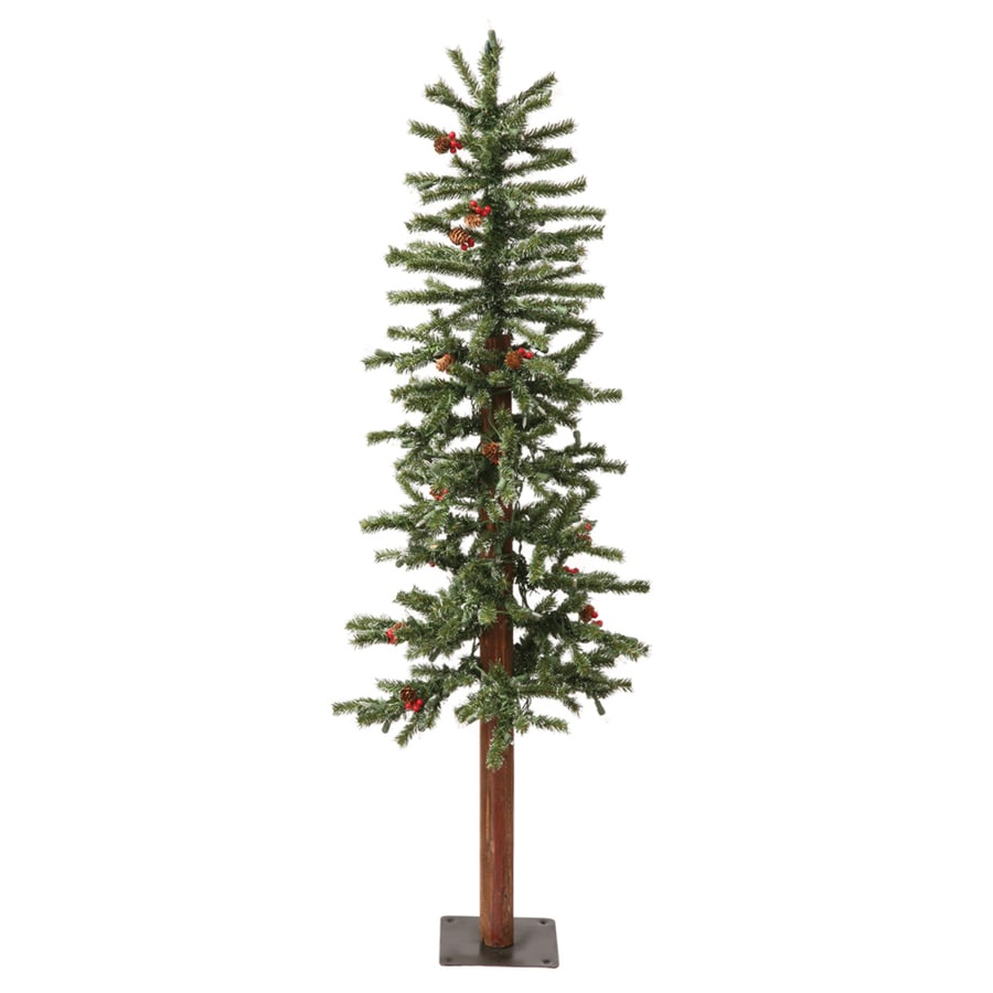 White 4 Foot Christmas Tree: Vickerman 4-ft Pre-lit Alpine Slim Flocked Artificial