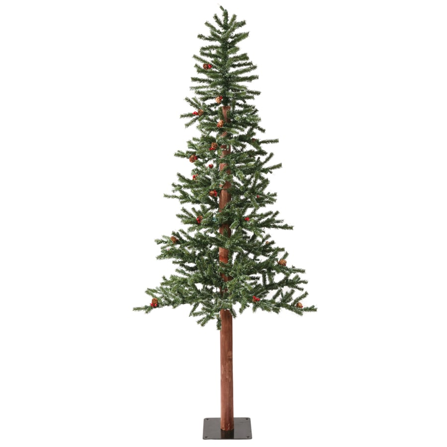 Vickerman 6-ft Pre-Lit Alpine Slim Flocked Artificial Christmas Tree with Warm White LED Lights
