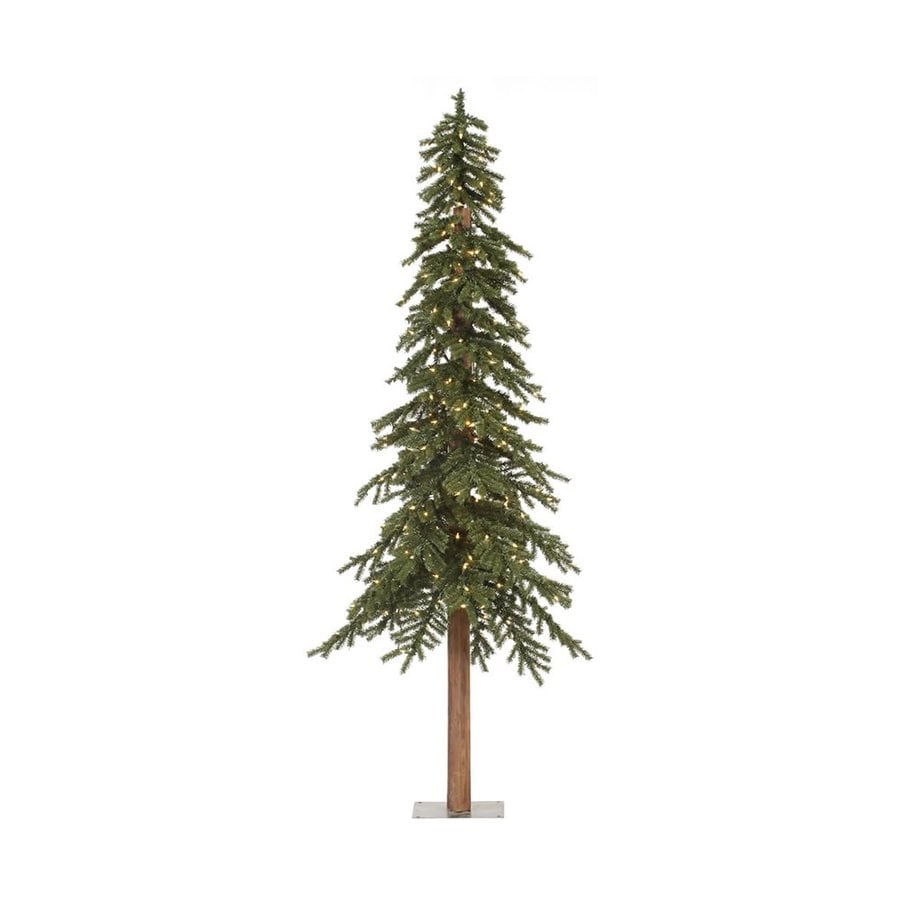 Vickerman 7-ft 921-Count Pre-lit Alpine Slim Artificial Christmas Tree with Constant 300 Single Plug White Clear Incandescent Lights