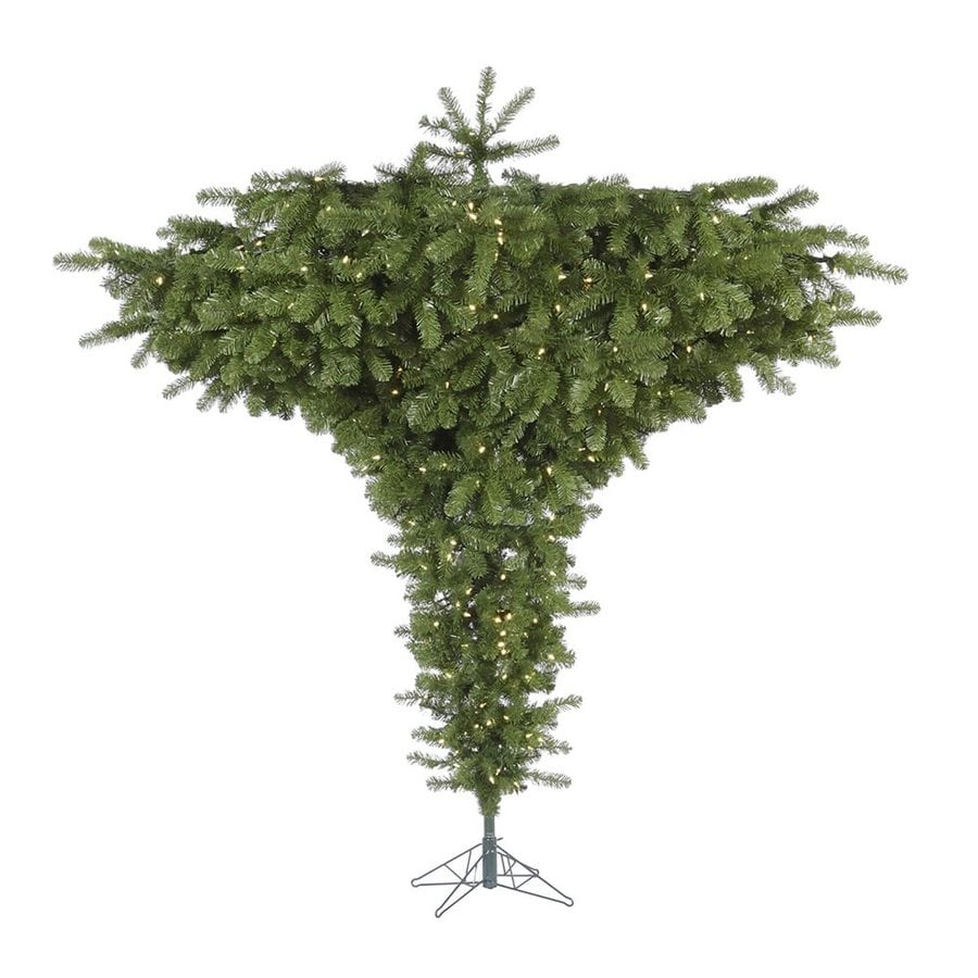 Vickerman 7-ft 6-in Pre-Lit Upside-Down Artificial Christmas Tree with Warm White LED Lights