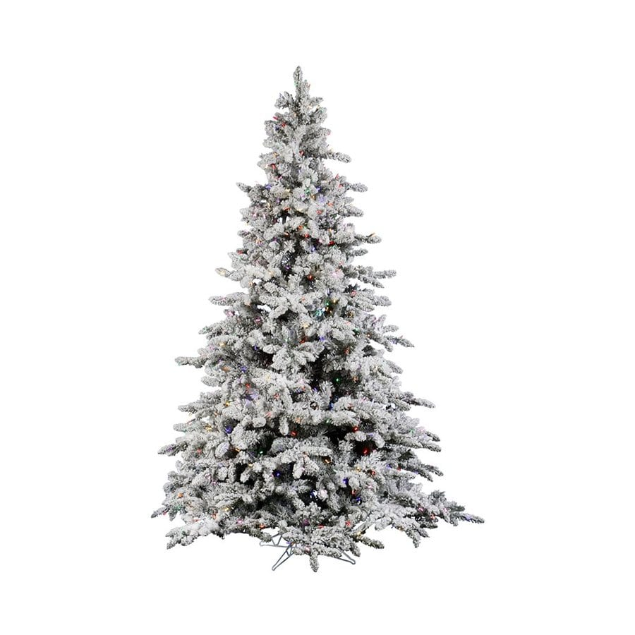 Vickerman 7.5-ft Pre-Lit Utica Fir Flocked Artificial Christmas Tree with Multicolor Incandescent Lights