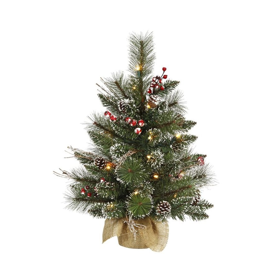 Vickerman 2-ft Pre-Lit Winterberry Flocked Artificial Christmas Tree with Clear White Incandescent Lights