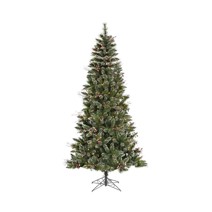 Vickerman 7-ft 744-Count Pre-lit Winterberry Flocked Artificial Christmas Tree with Constant 350 Single Plug White Clear Incandescent Lights
