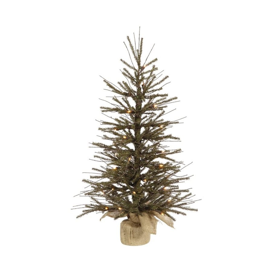 2 Ft White Christmas Tree: Vickerman 2.5-ft Pre-Lit Twig Slim Artificial Christmas
