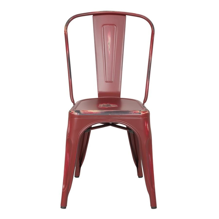 AEON Furniture Set of 2 Garvin Antique Red Stackable Side Chairs