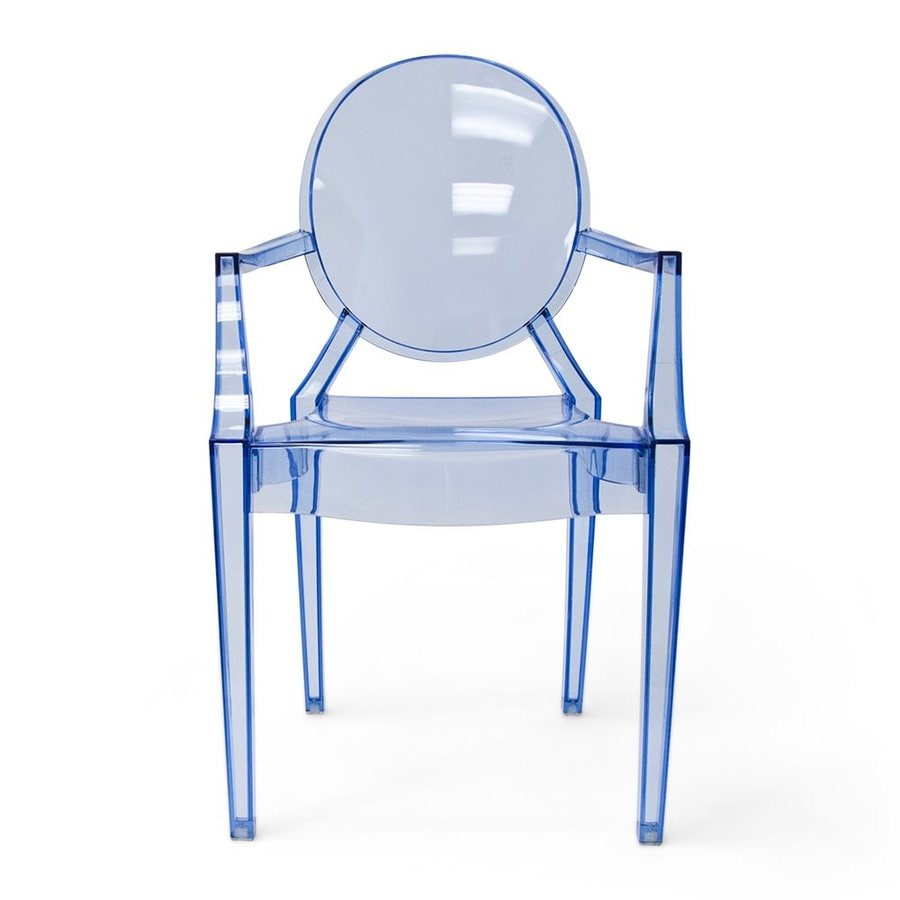 AEON Furniture Specter Modern Translucent Blue Plastic Accent Chair