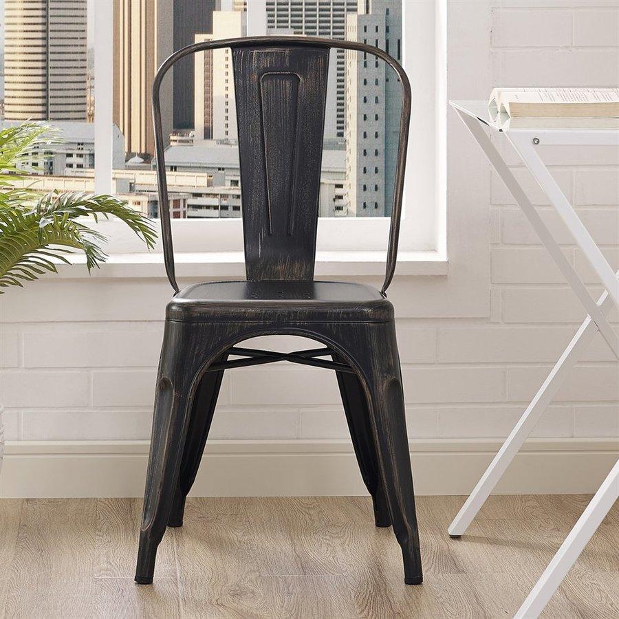 Walker Edison Antique Black Stackable Side Chair