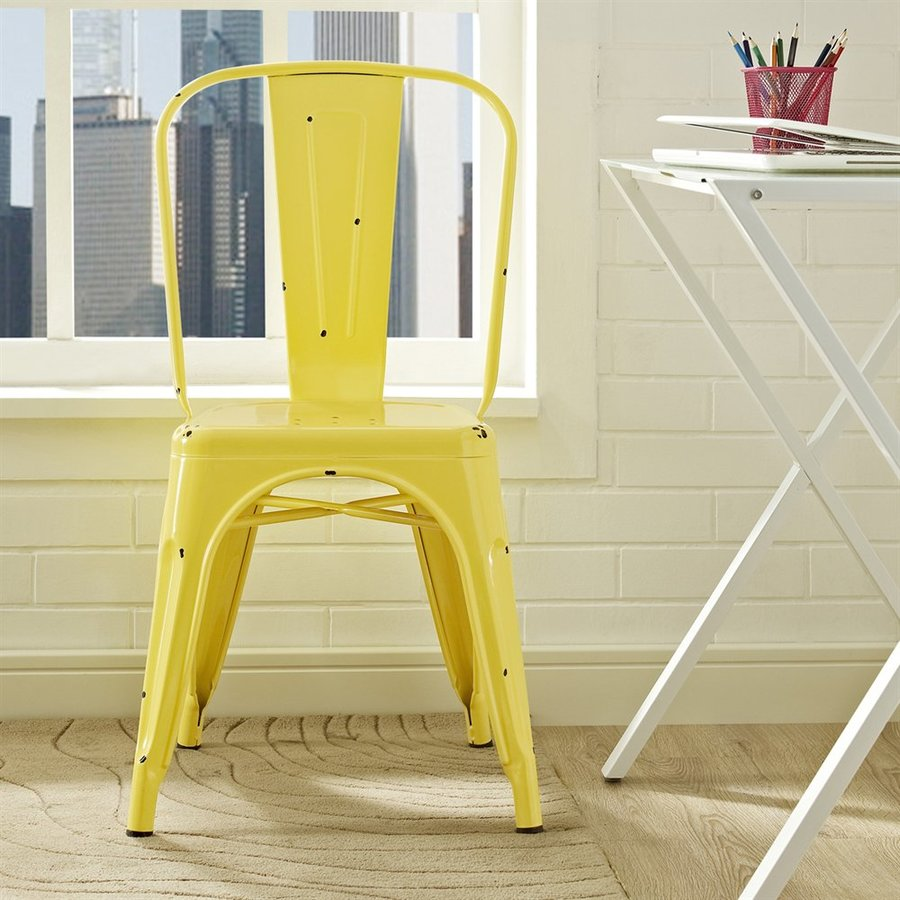 Walker Edison Antique Yellow Stackable Side Chair