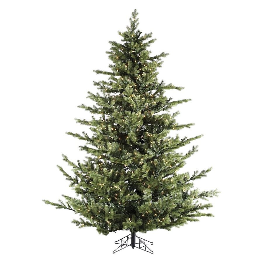 Fraser Hill Farm 7-ft 6-in Pre-Lit Foxtail Pine Artificial Christmas Tree with Clear White LED Lights