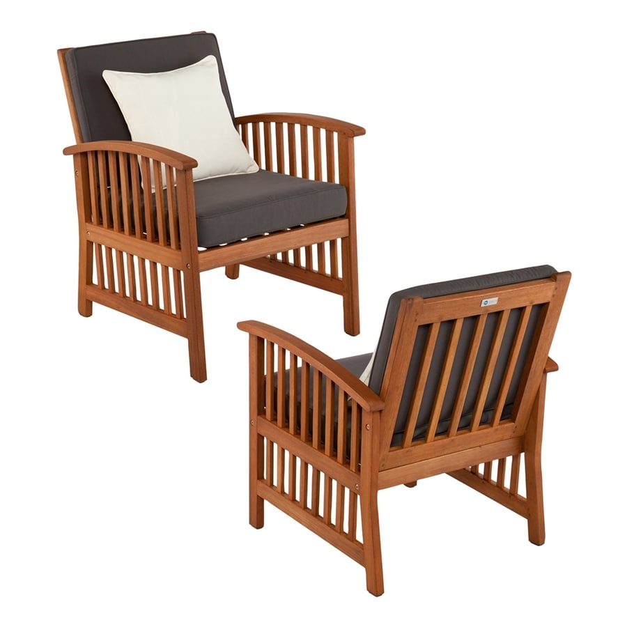 Boston Loft Furnishings Garner Set Of 2 Oiled Eucalyptus Eucalyptus Patio  Conversation Chairs With Deep Gray