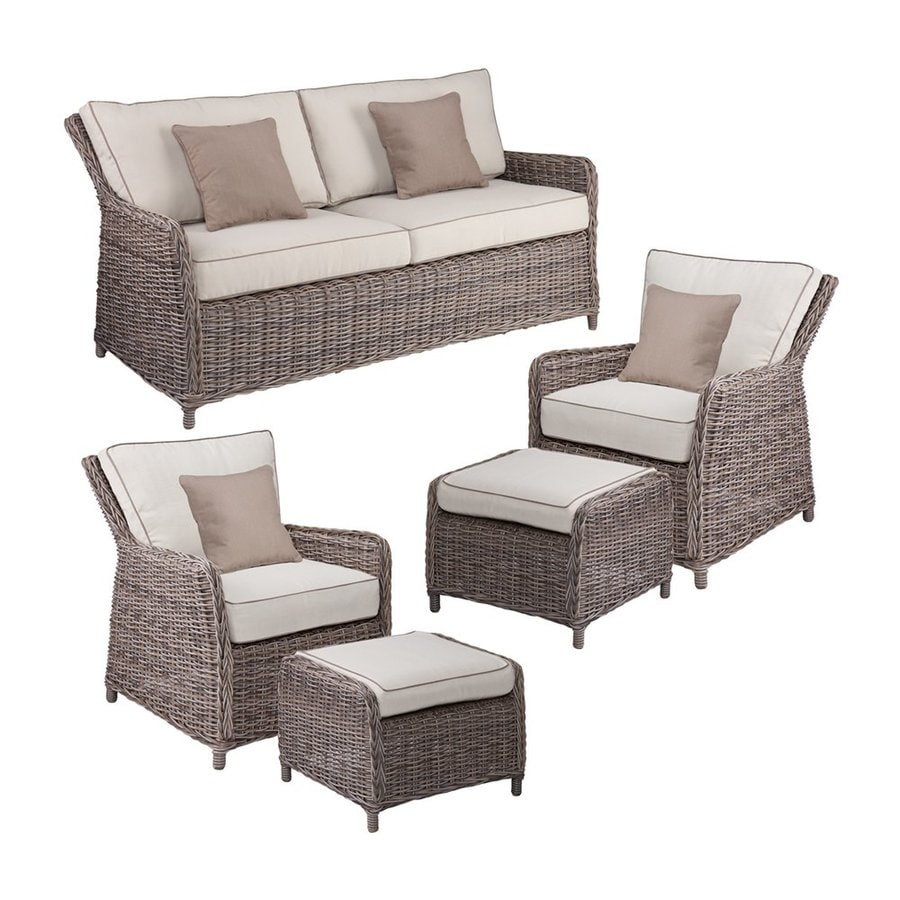 Boston Loft Furnishings Fiona 5 Piece Wicker Frame Patio Conversation Set With Khaki Cushions