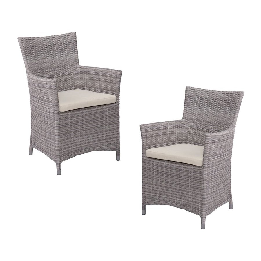 Boston Loft Furnishings Maryn 2-Count Multi-Tonal Gray Wicker Patio Conversation Chair