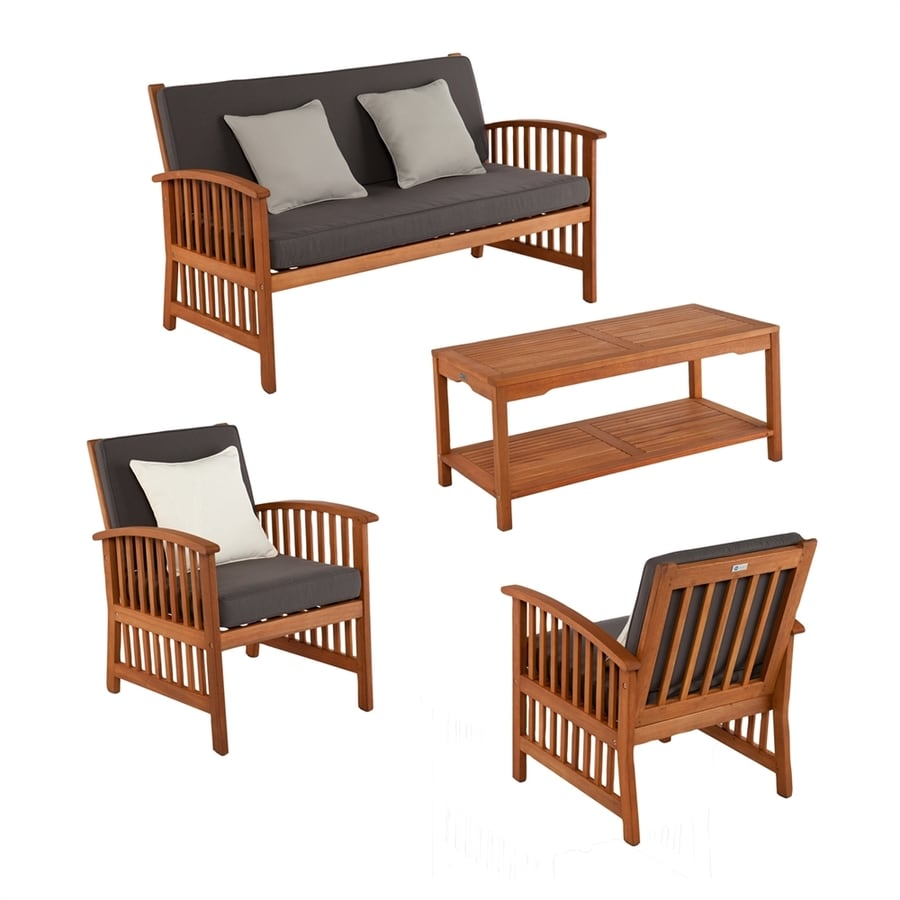 Boston Loft Furnishings Garner 4 Piece Eucalyptus Patio Conversation Set