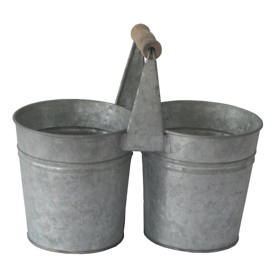Cheung's 11-in x 9.25-in Gray Metal Rustic Planter