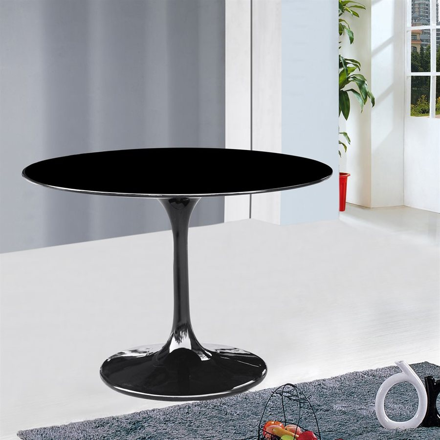 Fine Mod Imports Flower Black Round Dining Table