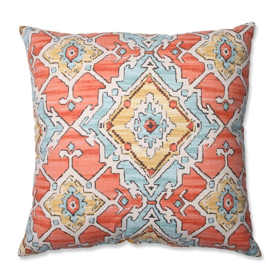 Pillow Perfect Sundance Tangerine 24.5-in W x 24.5-in L Multicolored Square Indoor Decorative Pillow