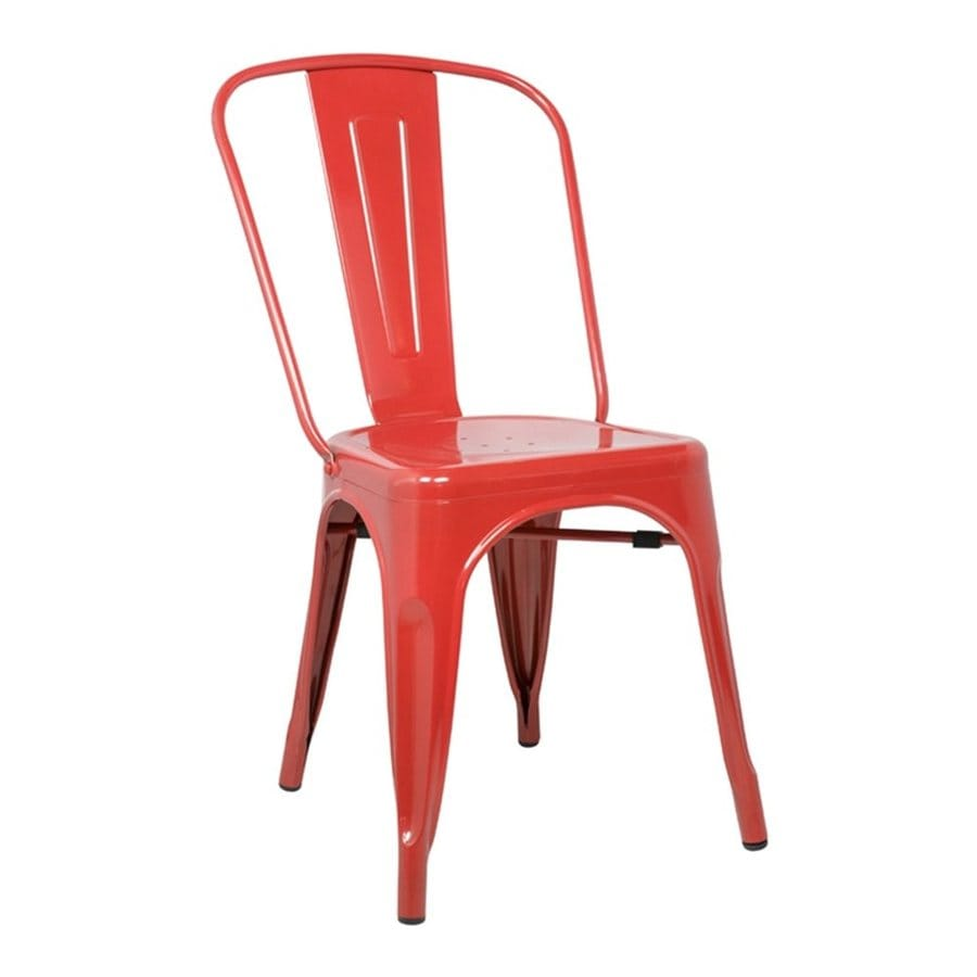 AEON Furniture Set of 2 Garvin Red Stackable Side Chairs