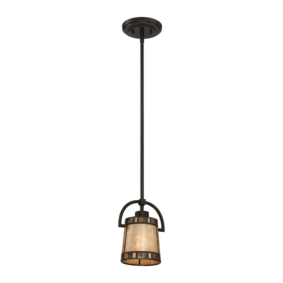 Quoizel Kingsford 7.5-in Teco Marrone Craftsman Mini Cylinder Pendant