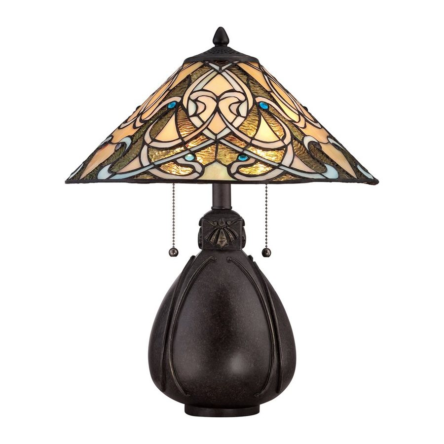 Quoizel India 19.5-in Imperial Bronze Indoor Table Lamp with Tiffany-Style Shade