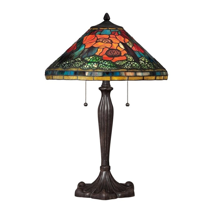 Quoizel Berkshire 23.5-in Imperial Bronze Indoor Table Lamp with Tiffany-Style Shade