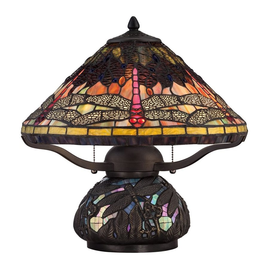 Quoizel Copperfly 16.5-in Imperial Bronze Table Lamp with Glass Shade