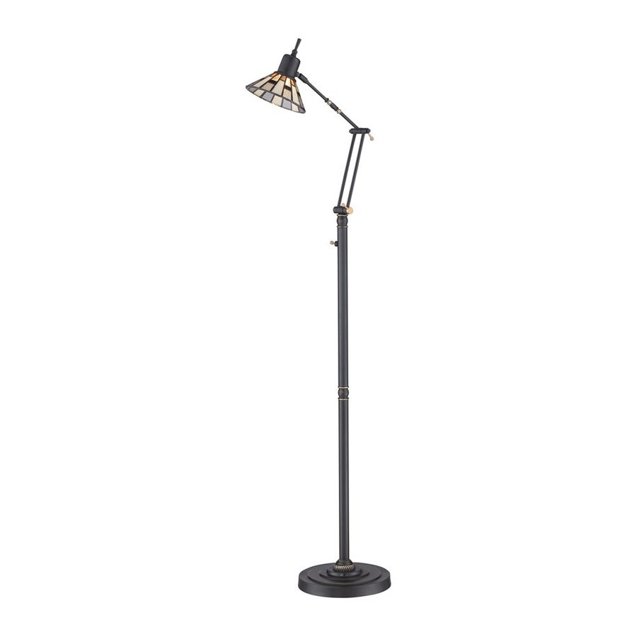 Quoizel Montgomery 51-in Medici Bronze LED Indoor Floor Lamp with Tiffany-Style Shade