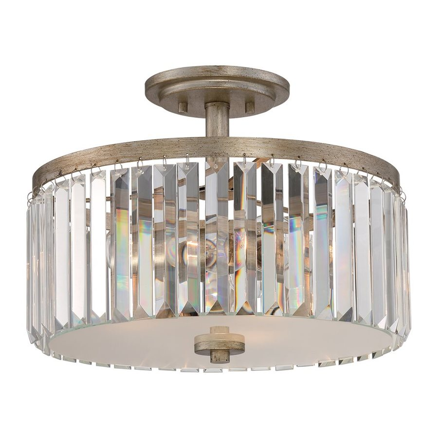 Quoizel Mirage 15-in W Vintage Gold Clear Glass Crystal Accent Semi-Flush Mount Light