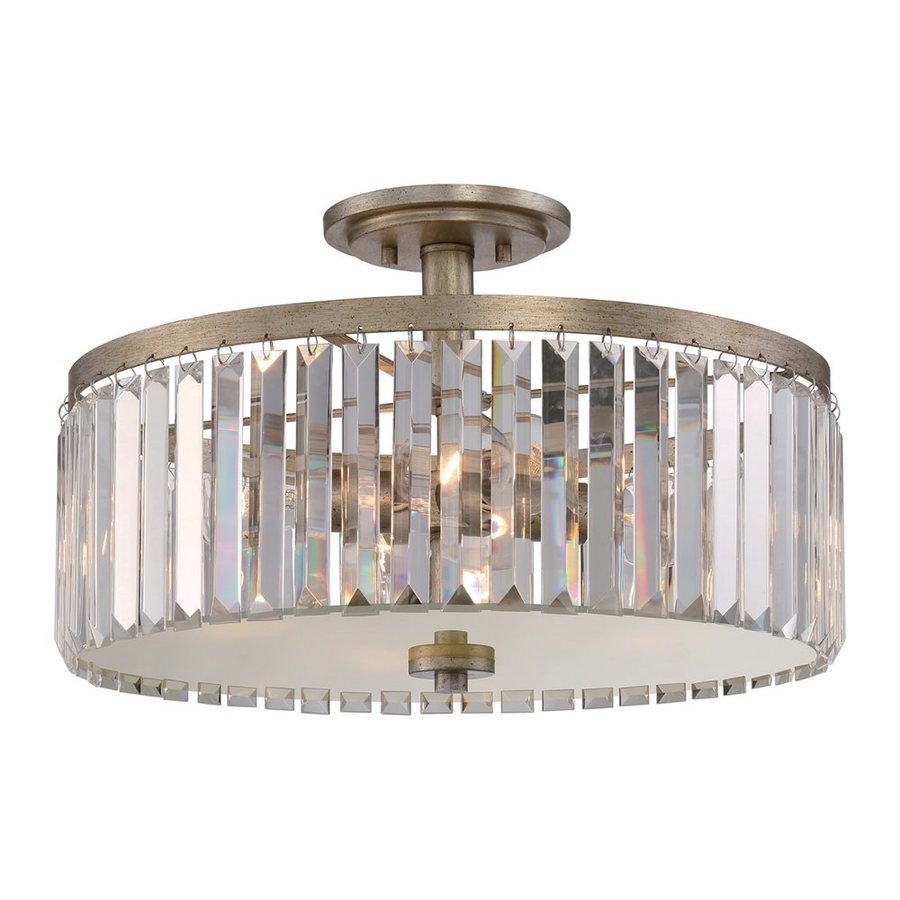 Quoizel Mirage 18.25-in W Vintage Gold Clear Glass Crystal Accent Semi-Flush Mount Light
