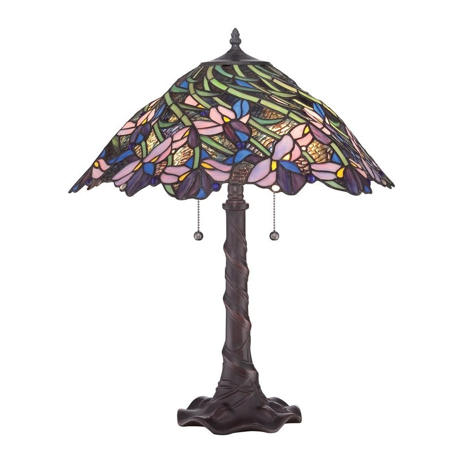 Quoizel Queens Meadow 23.5-in Bronze Indoor Table Lamp with Tiffany-Style Shade