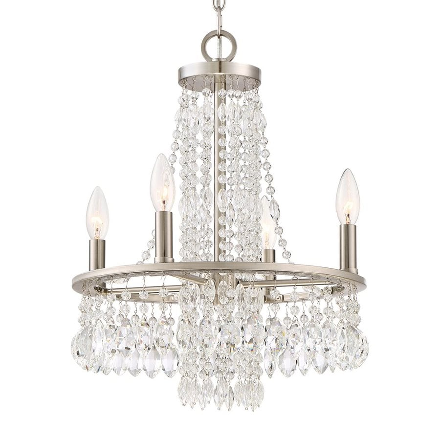 Quoizel Majestic 15-in 4-Light Brushed Nickel Crystal Draped Chandelier