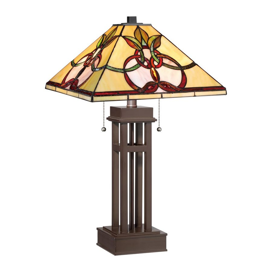 Quoizel Jewel Heart 22.75-in Russet Indoor Table Lamp with Tiffany-Style Shade