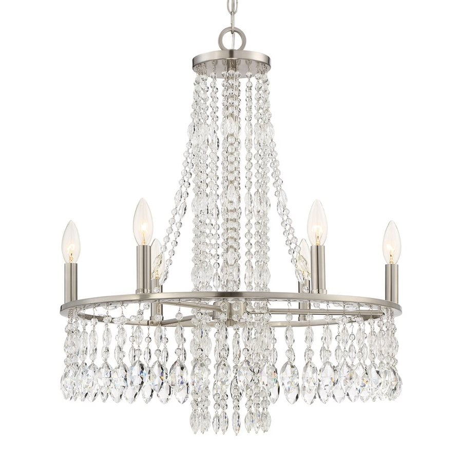 Quoizel Majestic 22.5-in 6-Light Brushed Nickel Crystal Draped Chandelier