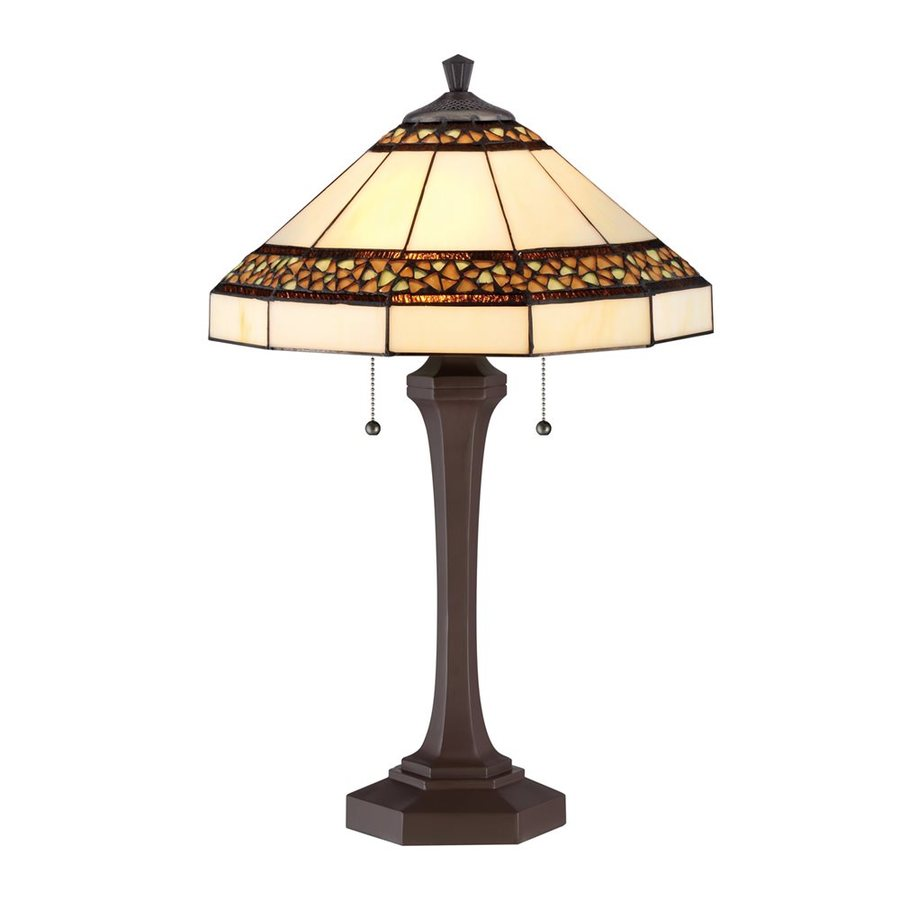 Quoizel Bragg Creek 24.25-in Russet Indoor Table Lamp with Tiffany-Style Shade